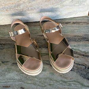 Zara Kids Metallic Crossed Sandals